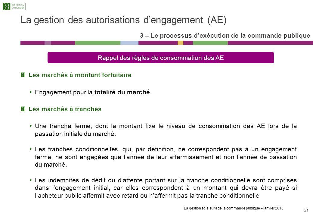 La gestion des autorisations d'engagement (AE)