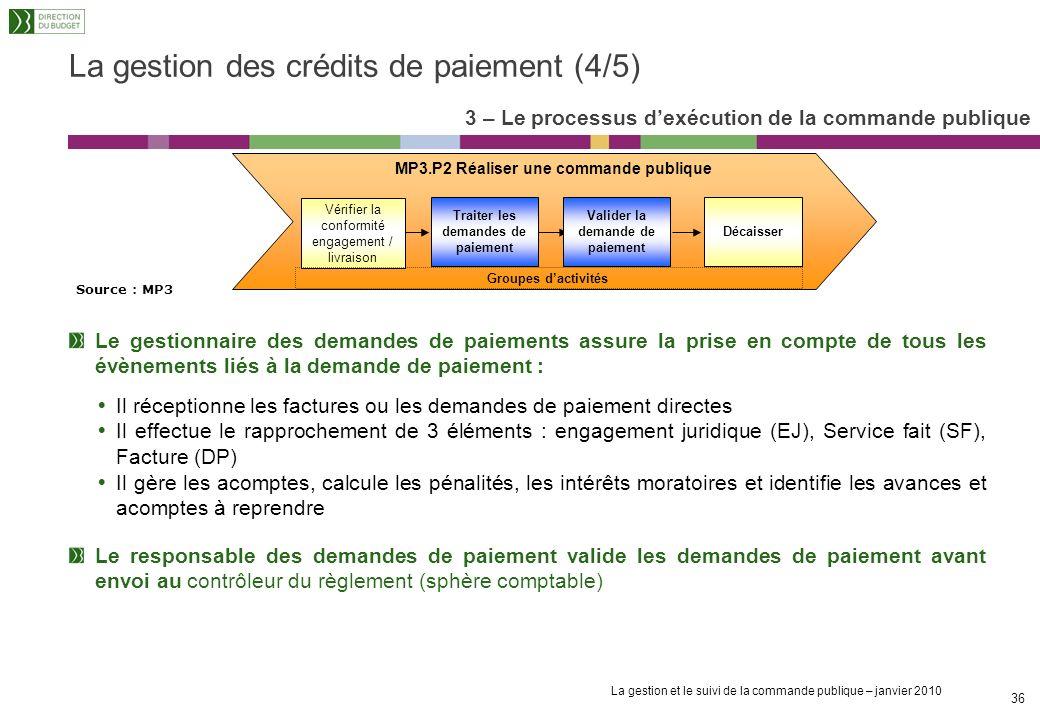La gestion des crédits de paiement (4/5)