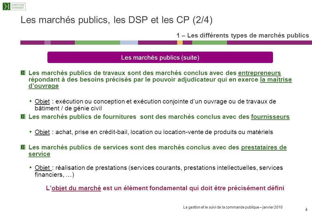 Les marchés publics, les DSP et les CP (2/4)