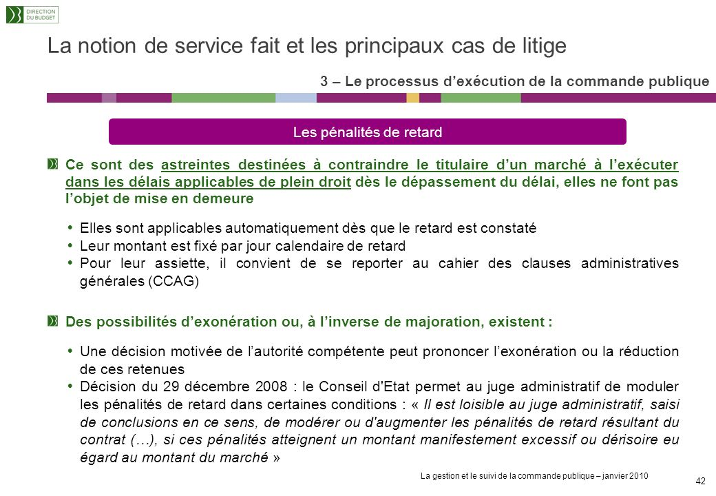 La notion de service fait et les principaux cas de litige