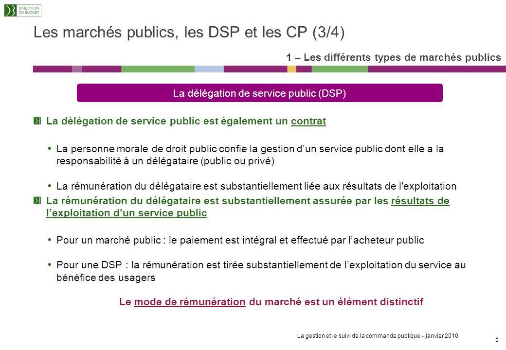 Les marchés publics, les DSP et les CP (3/4)