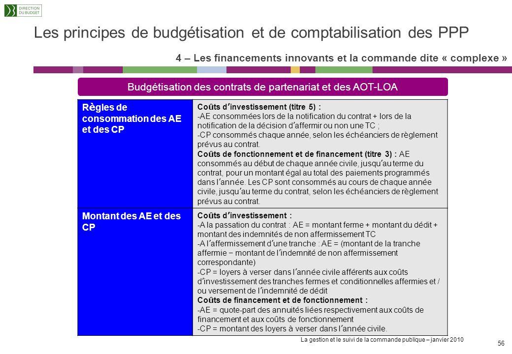 Les principes de budgétisation et de comptabilisation des PPP