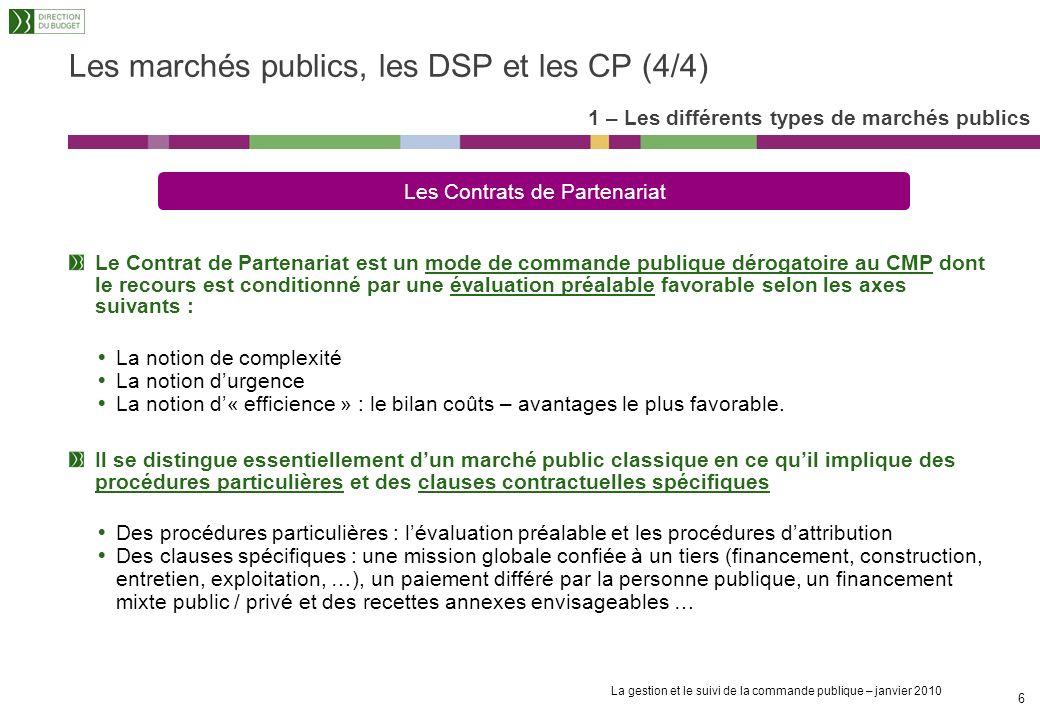 Les marchés publics, les DSP et les CP (4/4)