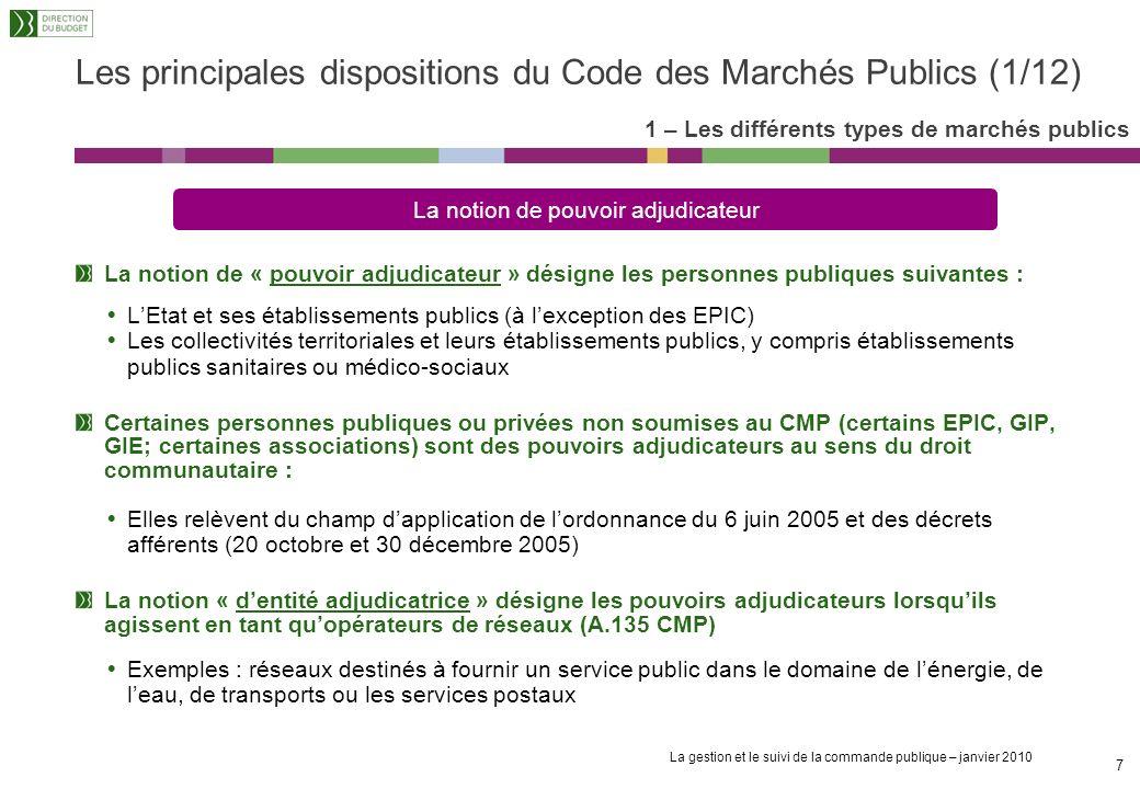 Les principales dispositions du Code des Marchés Publics (1/12)