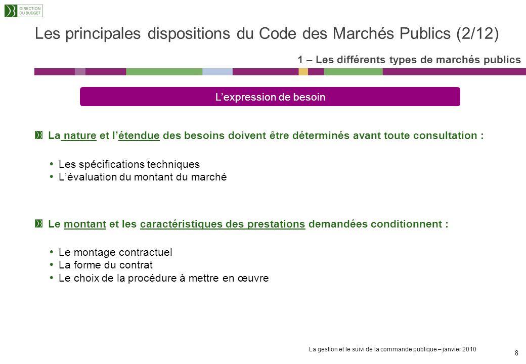 Les principales dispositions du Code des Marchés Publics (2/12)