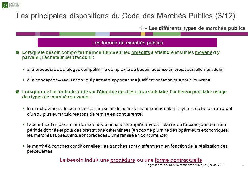 Les principales dispositions du Code des Marchés Publics (3/12)