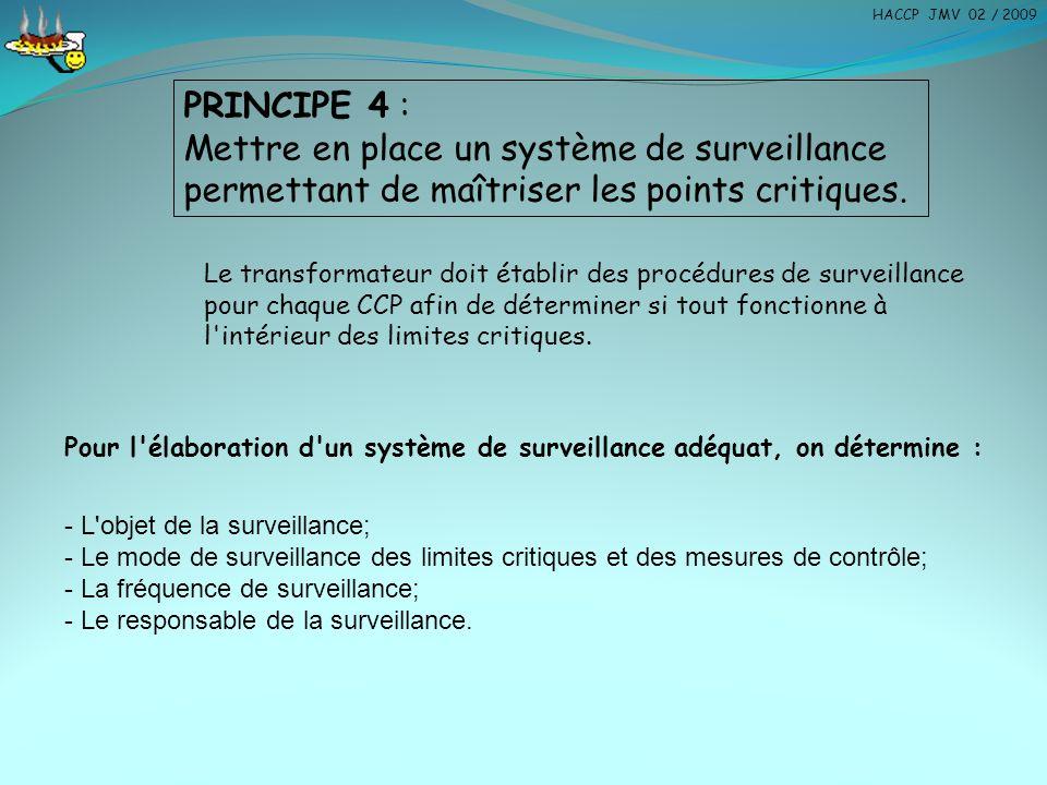 HACCP JMV 02 / 2009 PRINCIPE 4 : Mettre en place un système de surveillance permettant de maîtriser les points critiques.