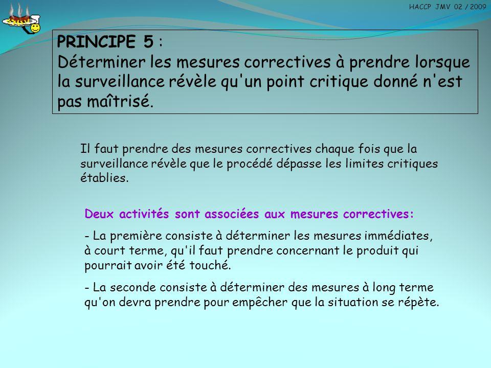 HACCP JMV 02 / 2009 PRINCIPE 5 :