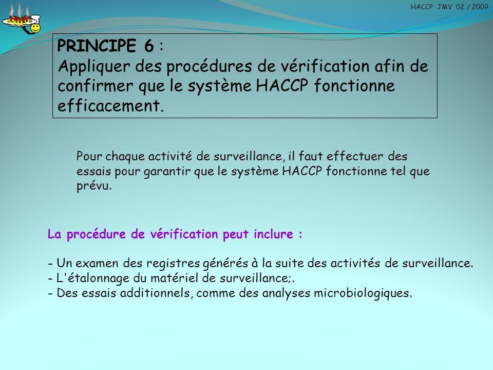HACCP JMV 02 / 2009 PRINCIPE 6 : Appliquer des procédures de vérification afin de confirmer que le système HACCP fonctionne efficacement.