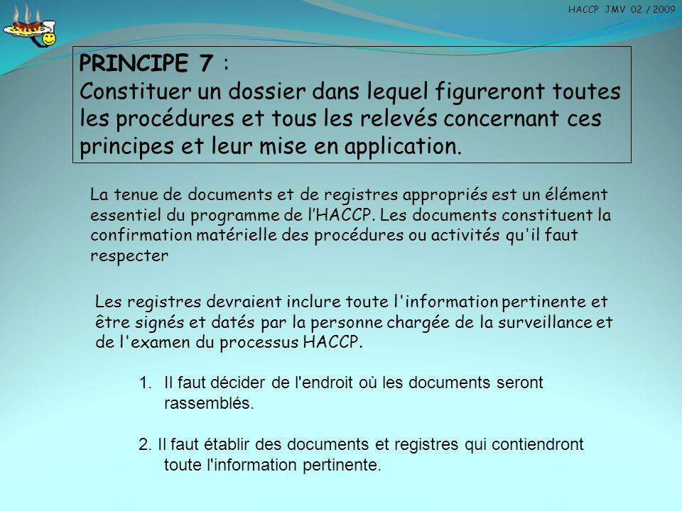 HACCP JMV 02 / 2009 PRINCIPE 7 :
