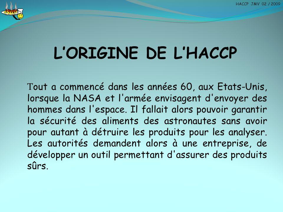 HACCP JMV 02 / 2009 L'ORIGINE DE L'HACCP.