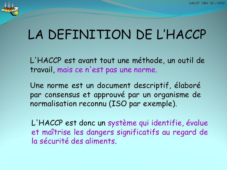 LA DEFINITION DE L'HACCP