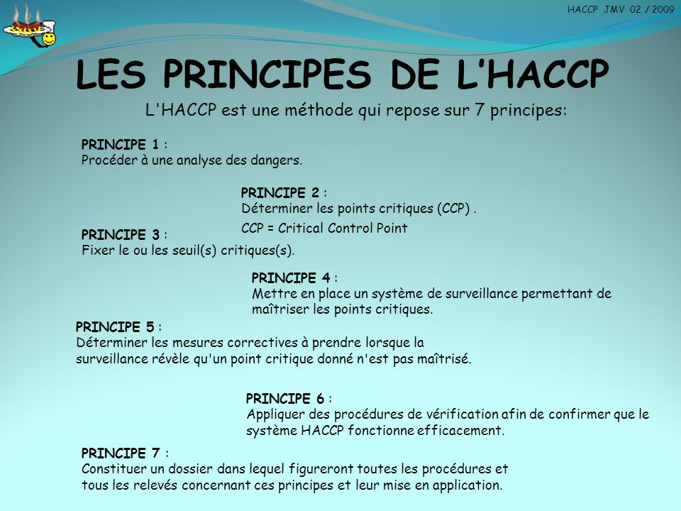 LES PRINCIPES DE L'HACCP