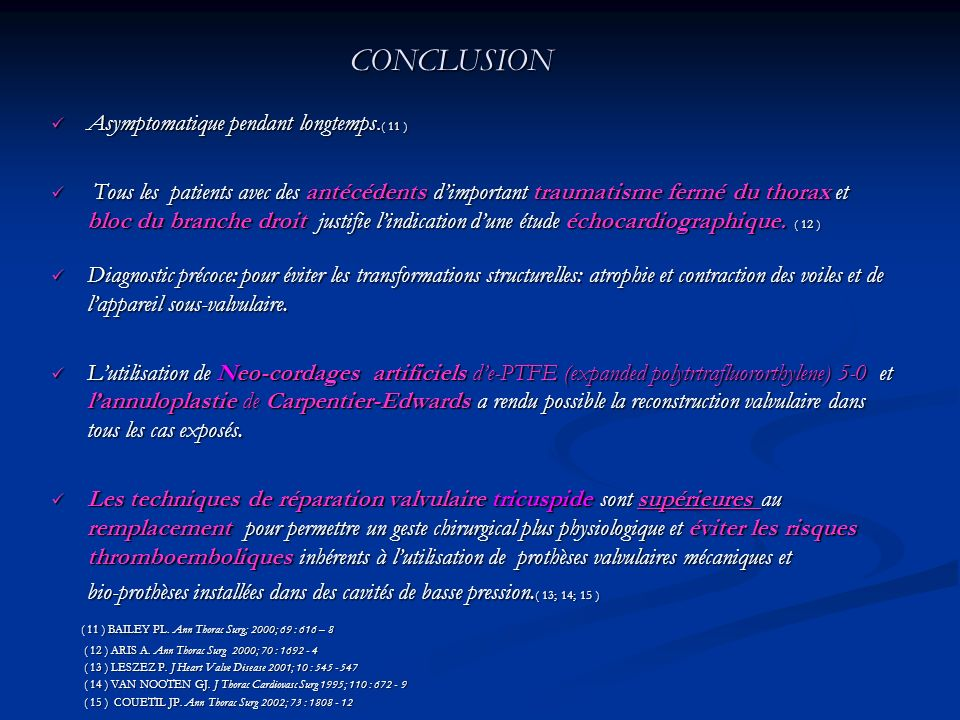 CONCLUSION Asymptomatique pendant longtemps.( 11 )