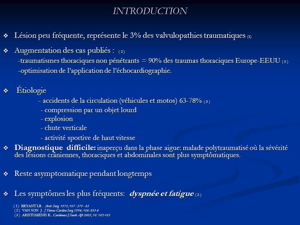 INTRODUCTION Lésion peu fréquente, représente le 3% des valvulopathies traumatiques (1) Augmentation des cas publiés : ( 2 )