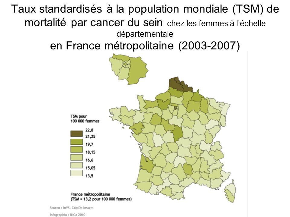 Taux standardisés à la population mondiale (TSM) de mortalité par cancer du sein chez les femmes à l'échelle départementale en France métropolitaine (2003-2007)