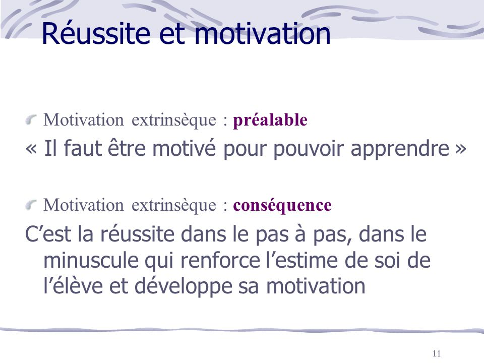 Réussite et motivation