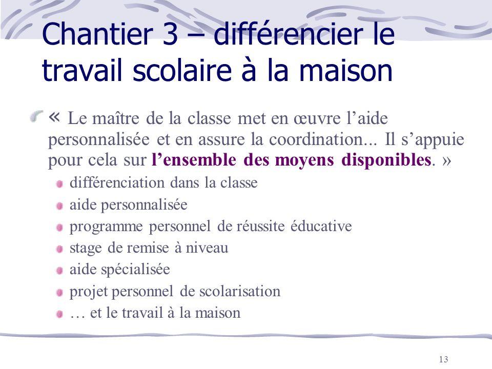 Chantier 3 – différencier le travail scolaire à la maison
