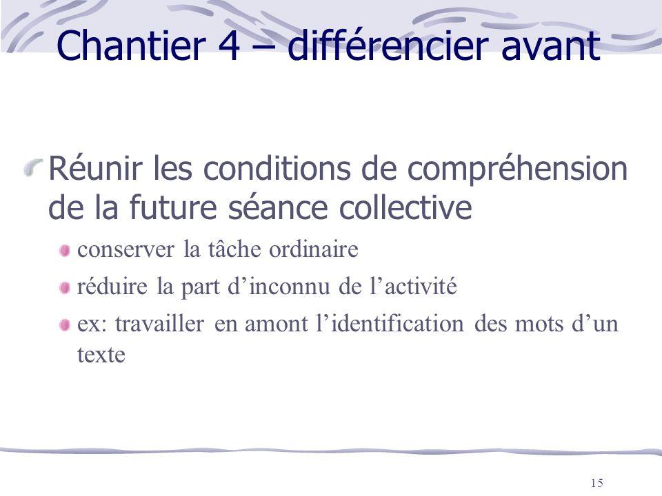Chantier 4 – différencier avant