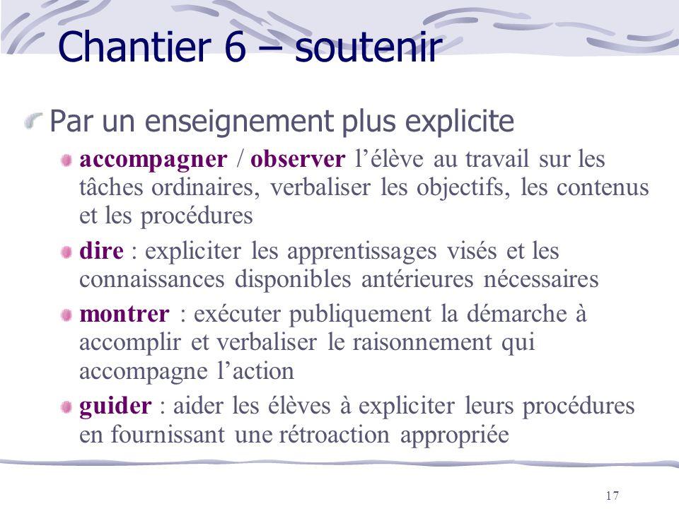 Chantier 6 – soutenir Par un enseignement plus explicite