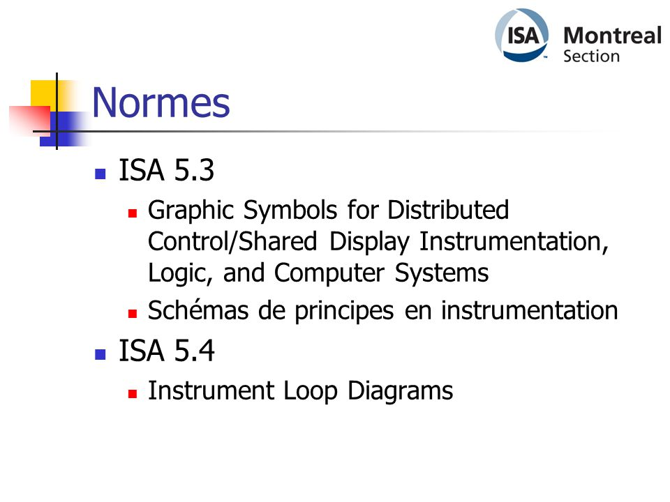 Normes ISA 5.3. Graphic Symbols for Distributed Control/Shared Display Instrumentation, Logic, and Computer Systems.
