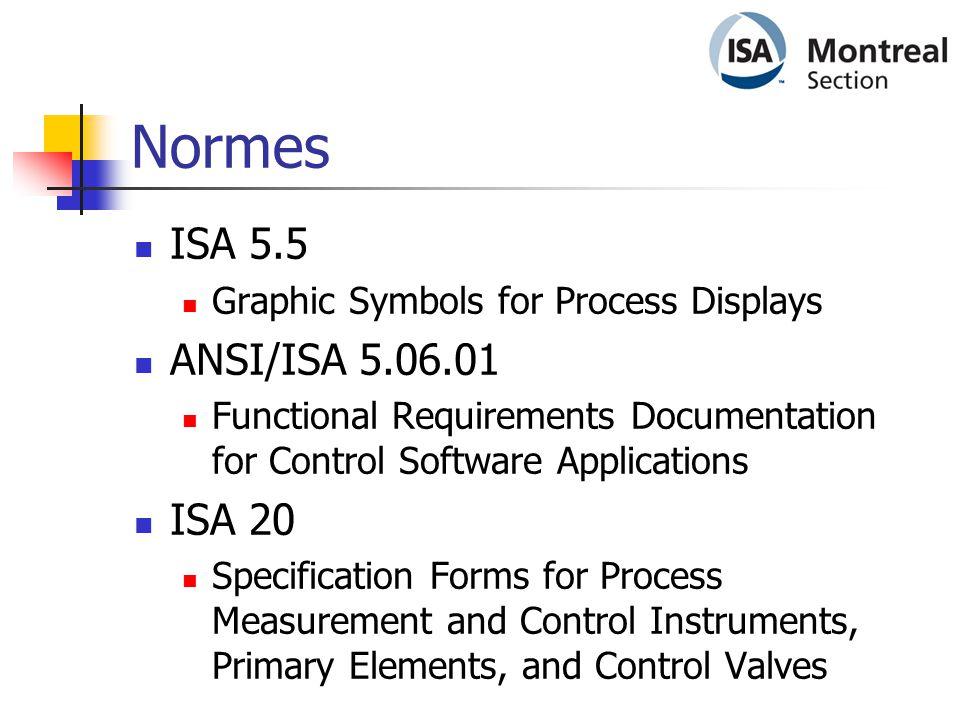 Normes ISA 5.5 ANSI/ISA 5.06.01 ISA 20