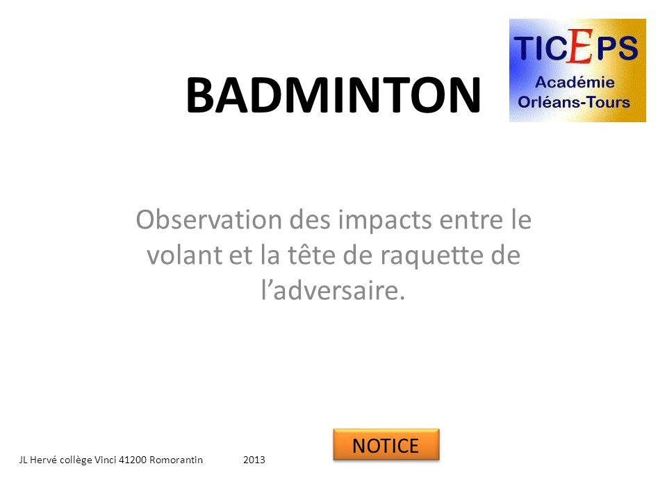 BADMINTON Observation des impacts entre le volant et la tête de raquette de l'adversaire. NOTICE.