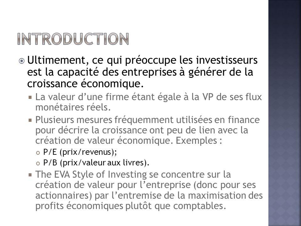 Introduction Ultimement, ce qui préoccupe les investisseurs est la capacité des entreprises à générer de la croissance économique.