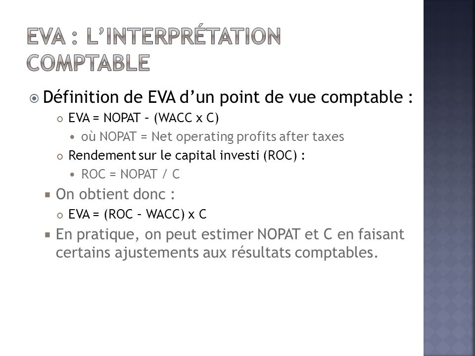 EVA : l'Interprétation comptable