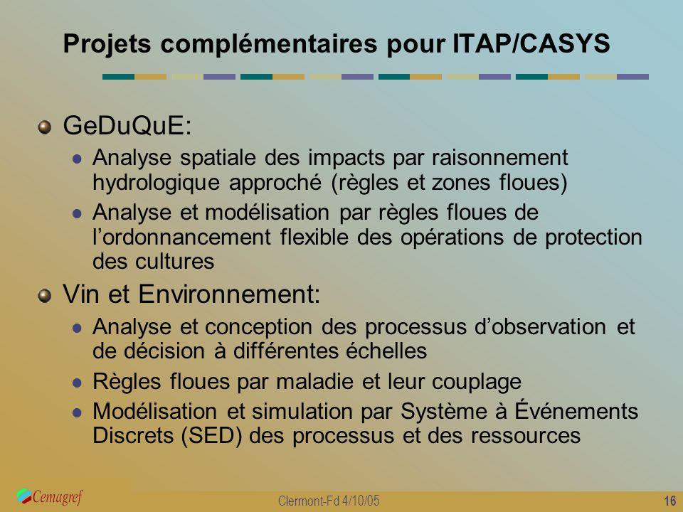 Projets complémentaires pour ITAP/CASYS