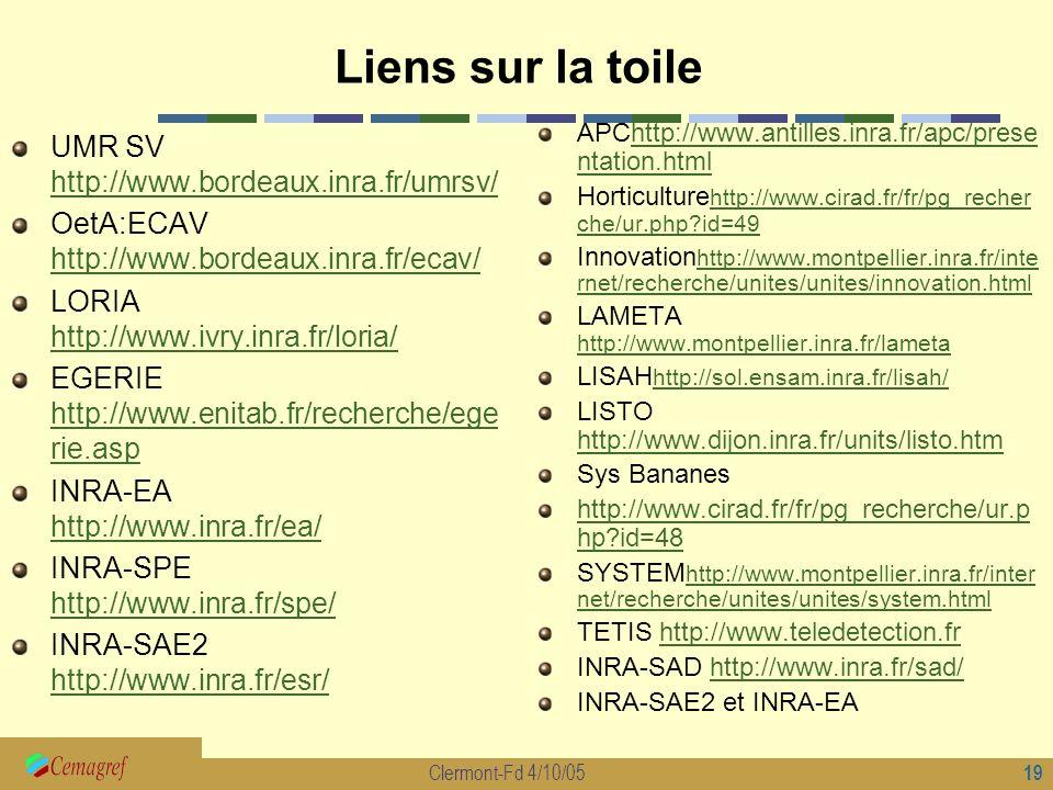 Liens sur la toile UMR SV http://www.bordeaux.inra.fr/umrsv/
