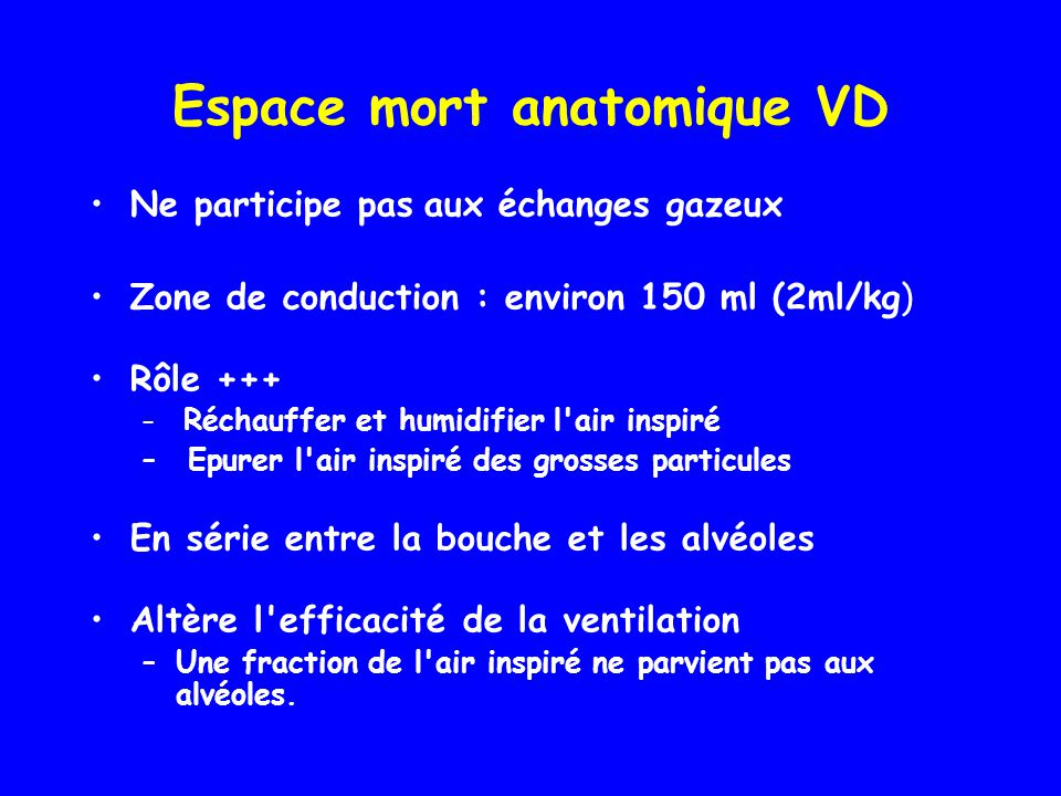 Espace mort anatomique VD