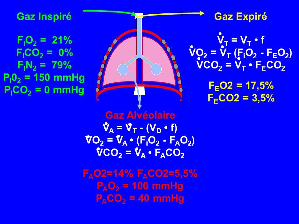 Gaz Inspiré FIO2 = 21% FICO2 = 0% FIN2 = 79% PI02 = 150 mmHg. PICO2 = 0 mmHg. Gaz Expiré. VT = VT • f.