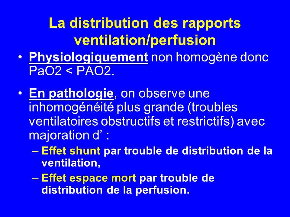 La distribution des rapports ventilation/perfusion