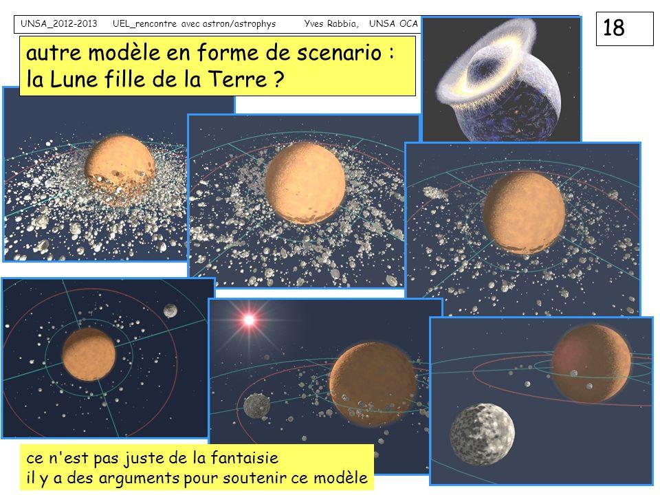 autre modèle en forme de scenario : la Lune fille de la Terre