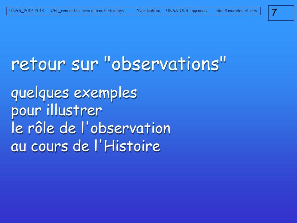 retour sur observations quelques exemples pour illustrer le rôle de l observation au cours de l Histoire