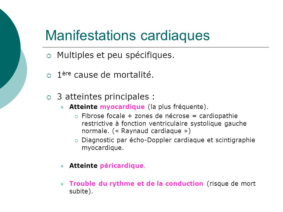 Manifestations cardiaques