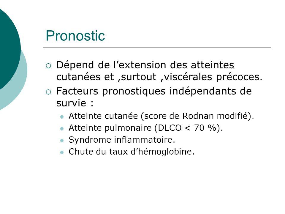 Pronostic Dépend de l'extension des atteintes cutanées et ,surtout ,viscérales précoces. Facteurs pronostiques indépendants de survie :