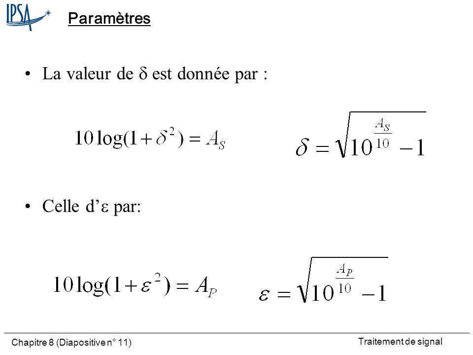 La valeur de d est donnée par :