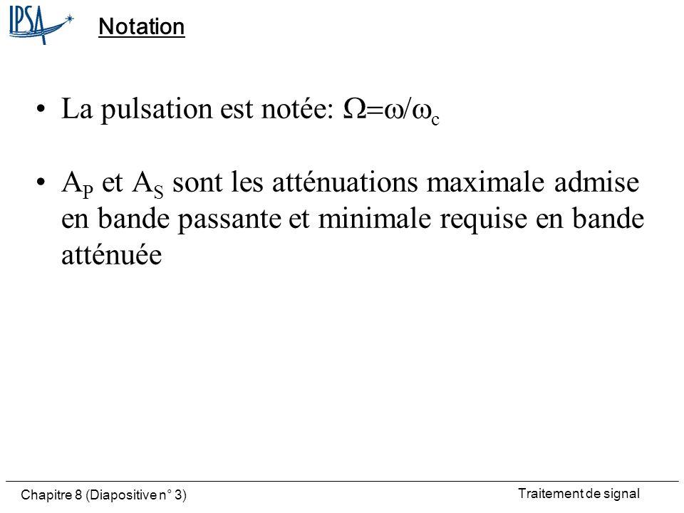La pulsation est notée: W=w/wc
