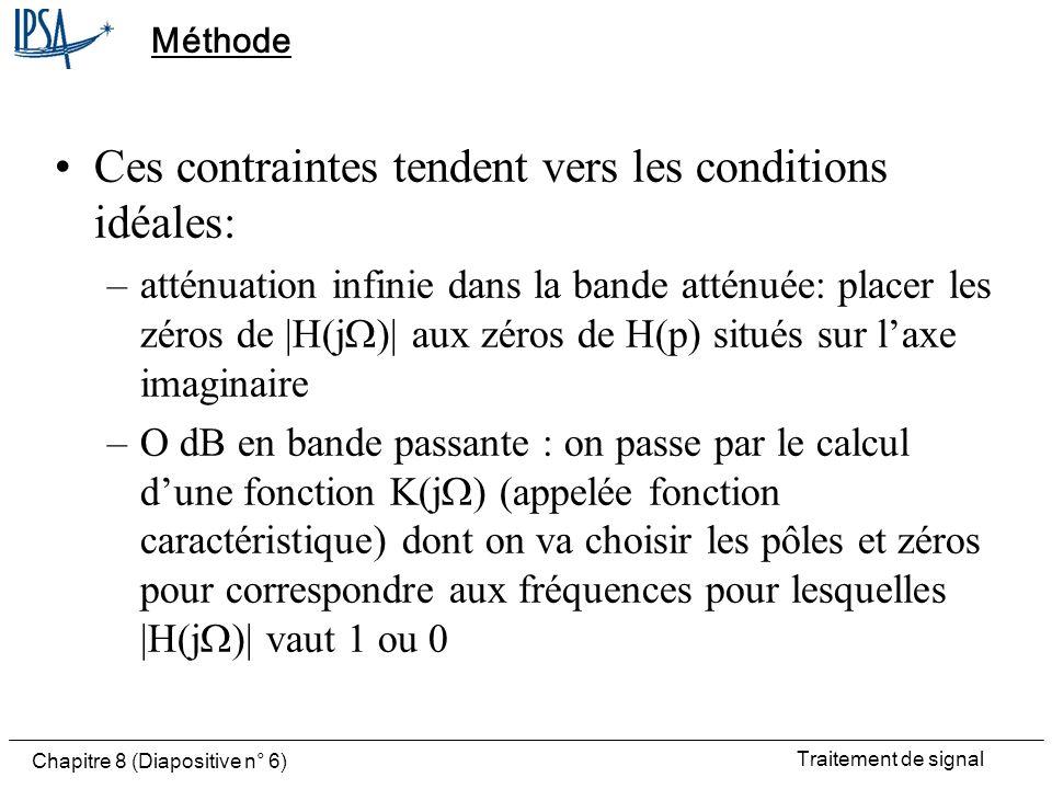 Ces contraintes tendent vers les conditions idéales: