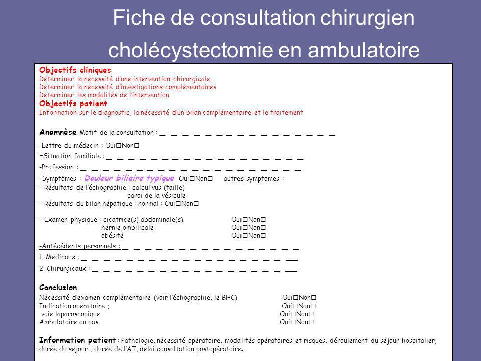 Fiche de consultation chirurgien cholécystectomie en ambulatoire