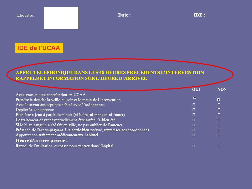 Etiquette : Date : IDE :IDE de l'UCAA. APPEL TELEPHONIQUE DANS LES 48 HEURES PRECEDENTS L'INTERVENTION.