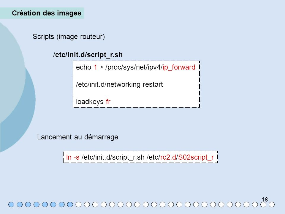Création des imagesScripts (image routeur) /etc/init.d/script_r.sh. echo 1 > /proc/sys/net/ipv4/ip_forward.