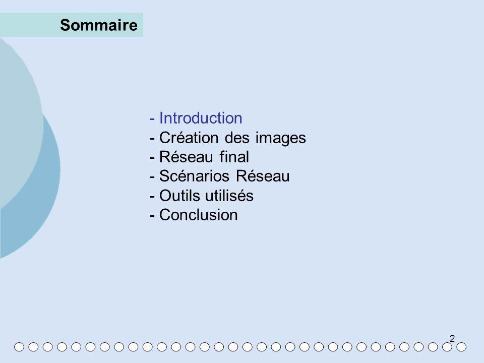 Sommaire - Introduction. - Création des images. - Réseau final. - Scénarios Réseau. - Outils utilisés.