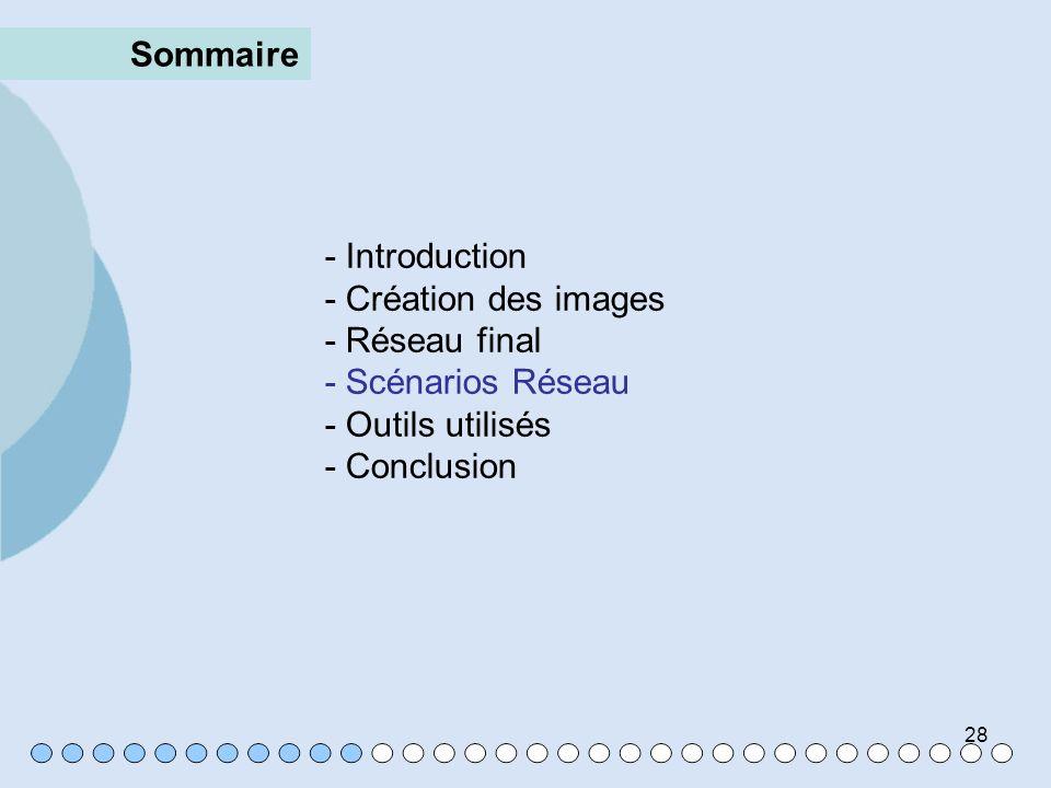 Sommaire- Introduction. - Création des images. - Réseau final. - Scénarios Réseau. - Outils utilisés.