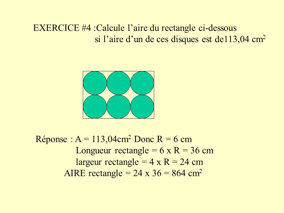 EXERCICE #4 :Calcule l'aire du rectangle ci-dessous