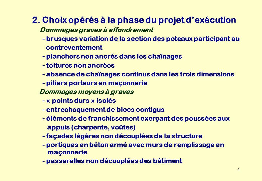 2. Choix opérés à la phase du projet d'exécution
