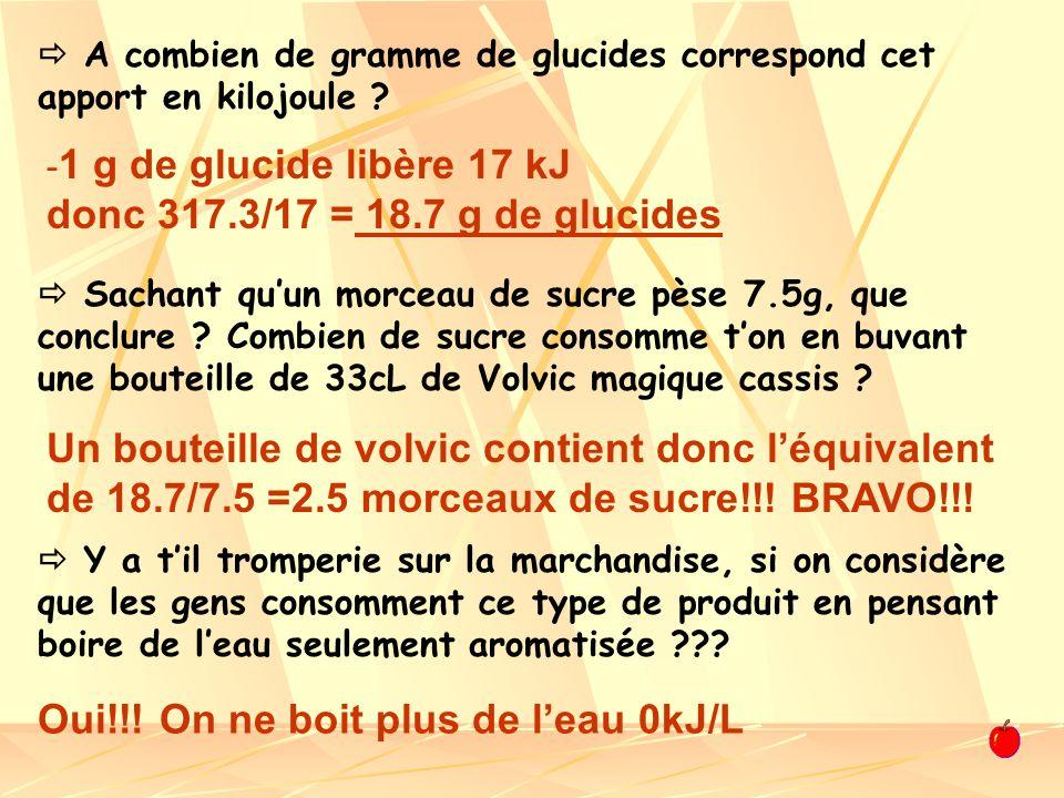 1 g de glucide libère 17 kJ donc 317.3/17 = 18.7 g de glucides
