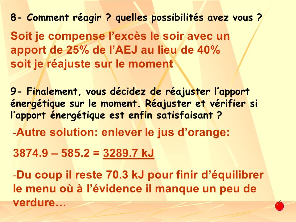 Autre solution: enlever le jus d'orange: 3874.9 – 585.2 = 3289.7 kJ